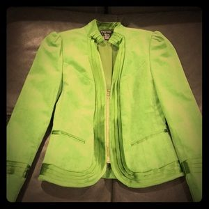 Beautiful Green Velvet Blazer with Satin Trim